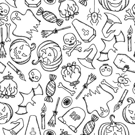 Vector Halloween seamless pattern with ghost, pumpkin, witch hat, coffin and skull. Hand drawn endless vector illustration. 일러스트