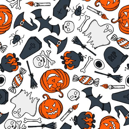 Vector Halloween seamless pattern with pumpkin, ghost, witch hat, broom, coffin and skull on white background.