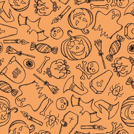 Halloween seamless pattern with pumpkin, ghost, witch hat, broom, coffin and skull. Vector illustration.