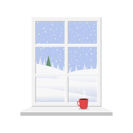 Window overlooking the winter landscape. Christmas window in flat design style vector illustration.