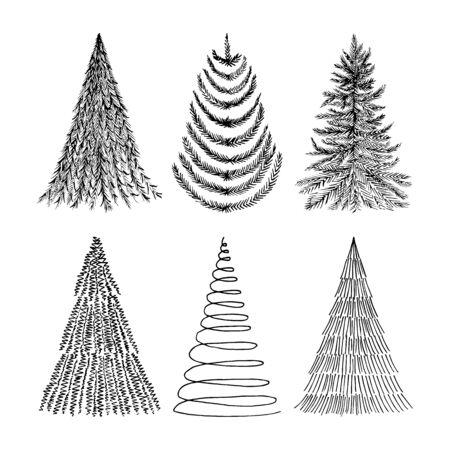 Hand drawn Christmas trees set. Vector sketch illustration.