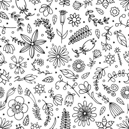 Seamless floral pattern. Hand drawn vector illustration in doodle style.