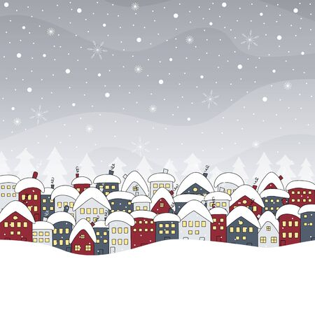 Winter cityscape. Christmas background with houses and snowfall. Hand drawn vector illustration. Ilustracja