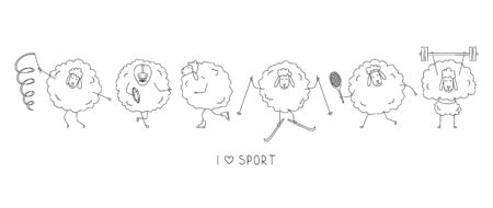 I love sports. Funny sheep athletes. Cartoon sports icons. Çizim