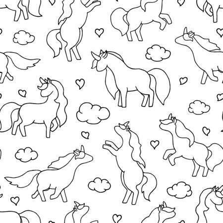 Unicorn seamless pattern. Magic vector background with cute unicorns, clouds and hearts. 일러스트