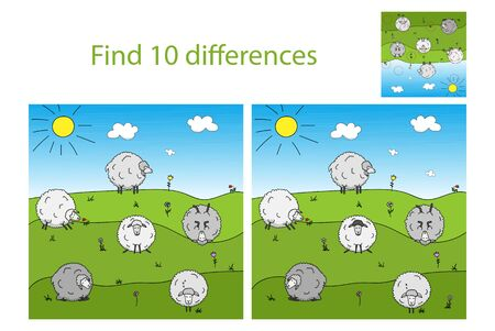 Funny sheep grazing in the meadow. Find 10 differences. Educational game for children.