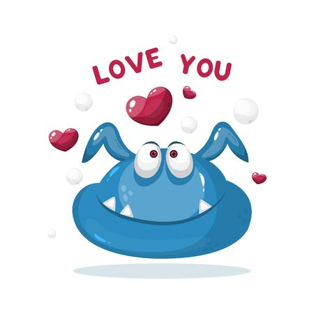 Funny cartoon monster with hearts greeting card.