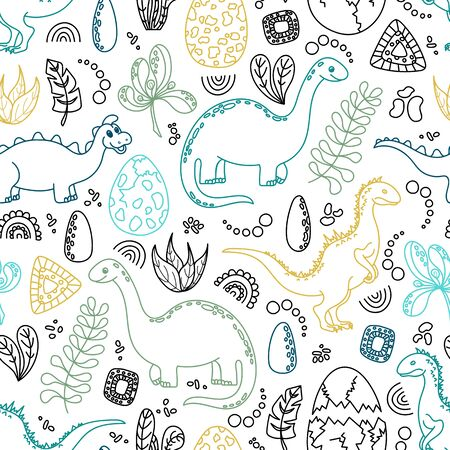 Childish seamless pattern with dinosaurs. Ilustrace