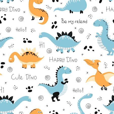 Seamless pattern with funny dinosaurs. Vector illustration for kids. 向量圖像