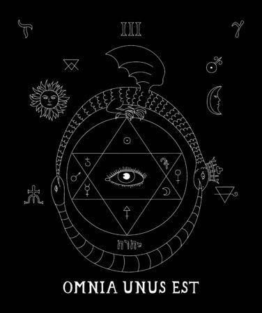Alchemy All-seeing eye occult symbol. Mystical black background. Occultism, alchemy, mysticism.