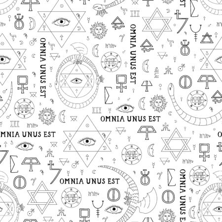 Seamless pattern on the theme of alchemy and mysticism with occult symbols and the inscription in Latin