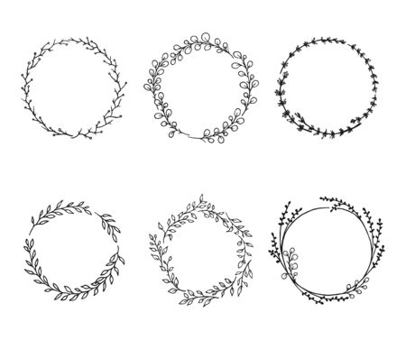 Flower wreaths - hand-drawn flower elements set for design. Floral botanical elements.