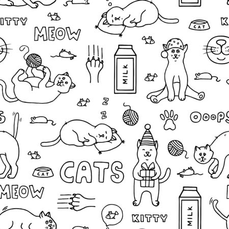 Seamless pattern with doodle cats. Hand-drawn black and white vector illustration with cats and other elements.  イラスト・ベクター素材