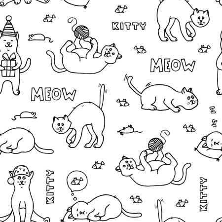 Seamless pattern with doodle cats. Hand-drawn black and white vector illustration.