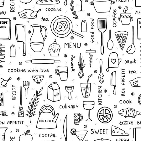 Hand-drawn food and kitchen utensils seamless pattern in doodle style. Vettoriali