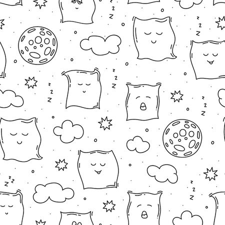 Sleep time seamless pattern with pillows, clouds, stars and moon. Night vector illustration in doodle style.