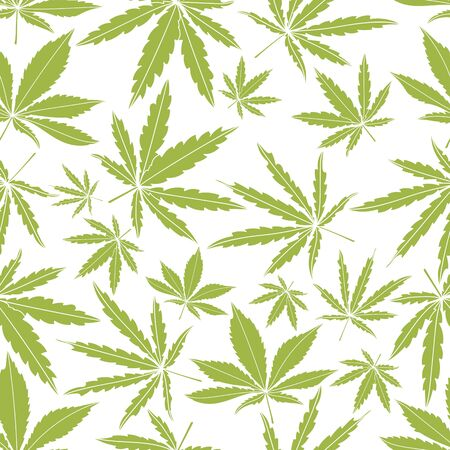 Seamless pattern with green cannabis leaves on white background. Ilustração