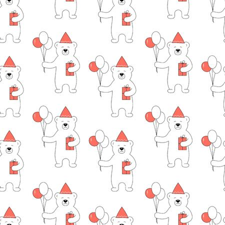 Hand drawn vector seamless pattern design cute bear with balloons and gift for birthday party.