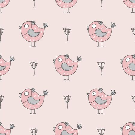 Seamless pattern with cute birds. Hand drawn funny birds. Baby seamless vector background.