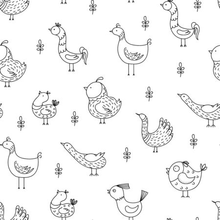 Hand drawn funny birds seamless pattern. Baby seamless vector background. Black and white vector illustration. Vettoriali