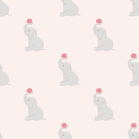 Elephant with ball cute seamless pattern.Cartoon elephant background for kids. Ilustracja