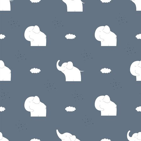 Hand drawn funny elephant seamless pattern. Baby seamless vector background. Vector illustration. Ilustracja