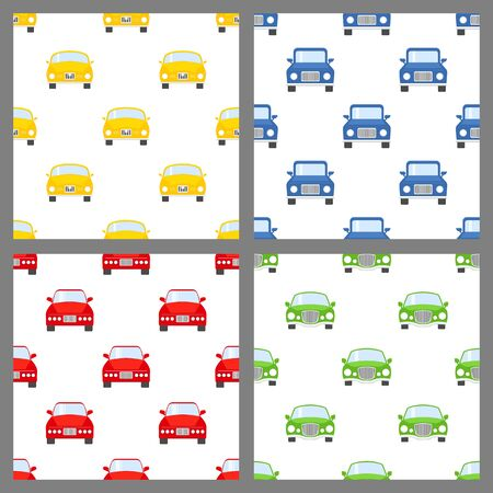 Set of colorful toy cars. Baby seamless patterns with cartoon vehicles on white.