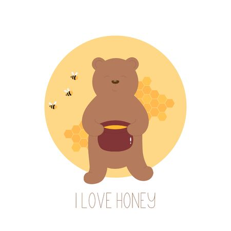 Cartoon brown bear holding honey pot. Greeting card with hand drawn brown bear.