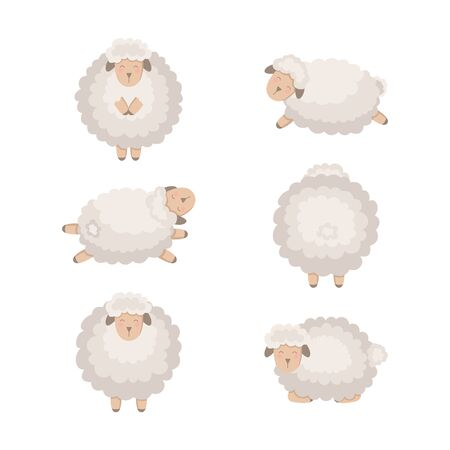Cartoon vector sheep collection isolated on white.