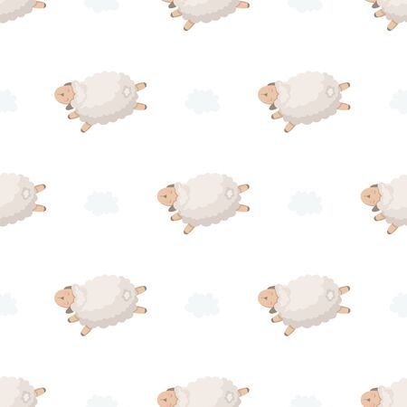 Seamless pattern with lambs and clouds. Funny background for kids.