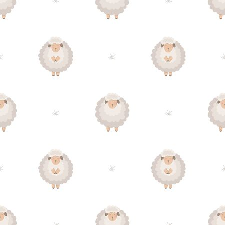 Seamless pattern with cute lamb. Funny background for kids on white. Ilustracja