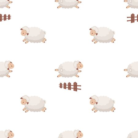 Seamless pattern with cute sheep jumping over a fence. Funny background for kids on white.