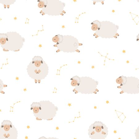 Seamless pattern with cute sheep flying in the starry sky. Background for baby.