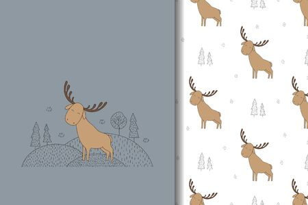 Cute moose hand drawn card and seamless pattern.