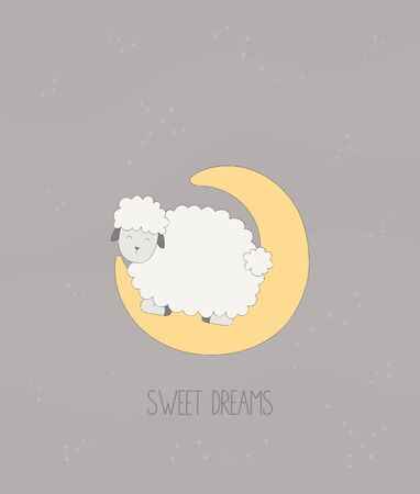 Sweet dreams - little sheep sleeps on the moon. Ilustracja