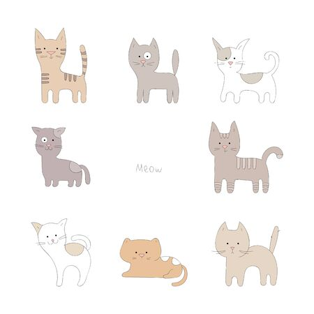 Hand drawn cute cats collection in cartoon style.