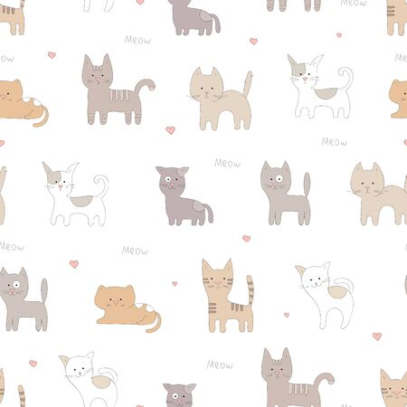 Hand drawn cute cats seamless pattern.
