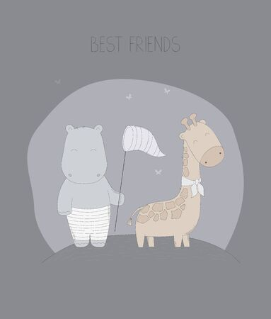 Hand drawn hippopotamus and giraffe are best friends vector illustration.