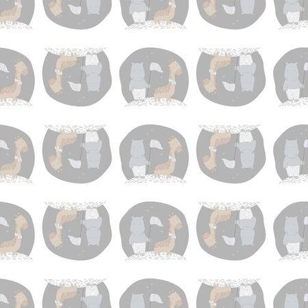 Hand drawn hippopotamus and giraffe are best friends seamless pattern.