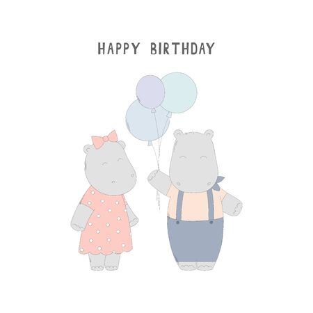Happy birthday greeting card with hippos. Drawn vector card for kids on white. Ilustracja