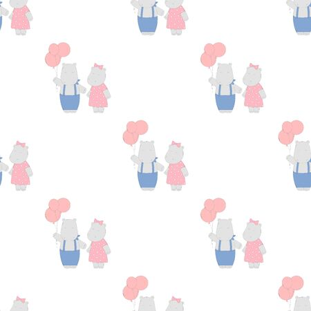 Drawn vector seamless pattern with hippo and balloons for birthday. Cute hippo background on white.