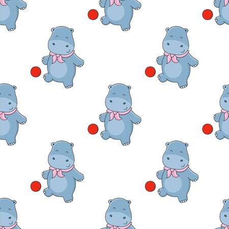 Seamless background with little hippo playing ball. Cute hippo vector illustration.