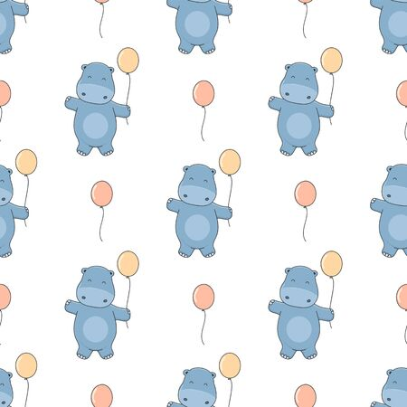 Seamless background cute little hippo with balloons. Vector illustration in cartoon style. Ilustracja