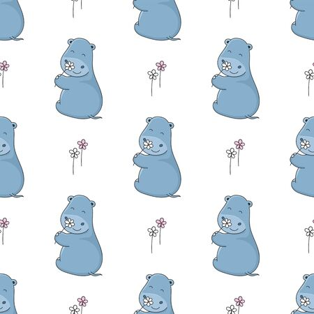 Seamless background cute little hippo with flowers. Vector illustration in cartoon style.
