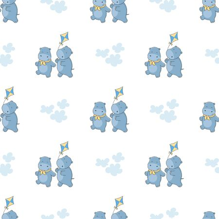 Seamless pattern with funny hippos and a kite. Vector cartoon pattern for kids.