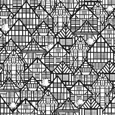Seamless pattern with old german houses. Black and white buildings background.