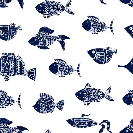 Cute fish seamless pattern. Blue fish.