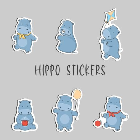 Cute cartoon hippo stickers.