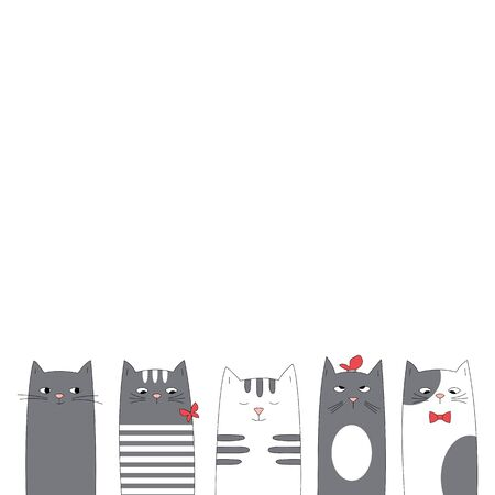 Greeting card design with funny cats. Card with space for text. Ilustracja