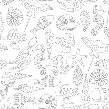 Vector seamless pattern with marine animals. Ilustracja